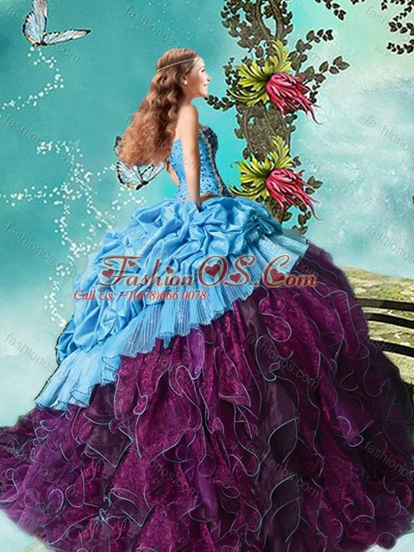 Latest Beaded and Ruffled Purple and Blue Quinceanera Dress in Taffeta and Organza