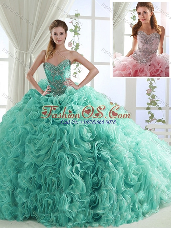 Lovely Rolling Flowers Brush Train Detachable Quinceanera Skirts in Turquoise