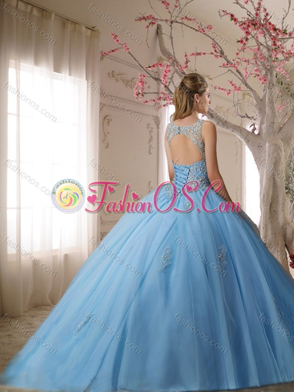 Lovely See Through Scoop Light Pink Quinceanera Dress with Beading