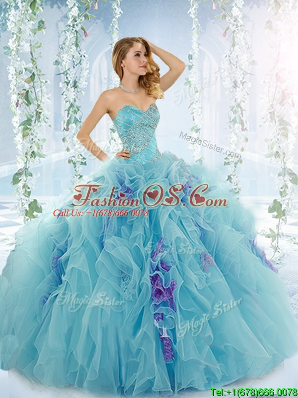 Low Price Aque Blue Perfect Quinceanera Dresses with Beading and Ruffles