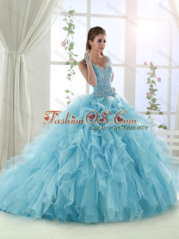 Luxurious Ruffled and Beaded Bodice Aqua Blue Quinceanera Dress in Organza