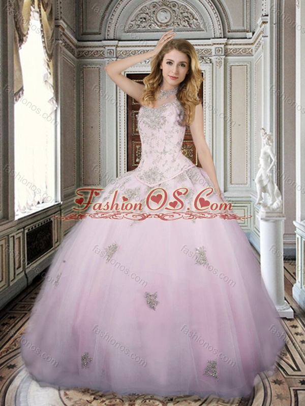 Modest Applique and Beaded Bodice Pink Sweet 16 Dress in Tulle