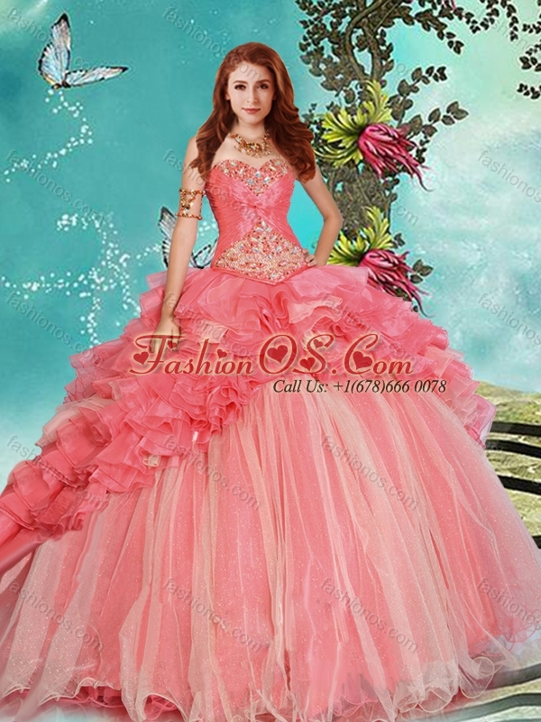 Modest Beaded and Ruffled Coral Red Detachable Quinceanera Skirts with Brush Train