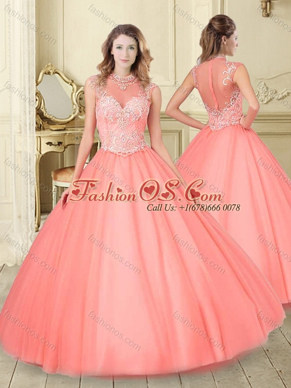 Modest See Through High Neck Quinceanera Dress with Beading and Appliques
