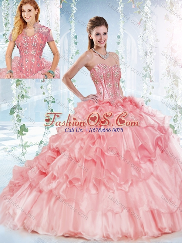 Modest Visible Boning Organze Detachable Quinceanera Dress with Beaded Bodice