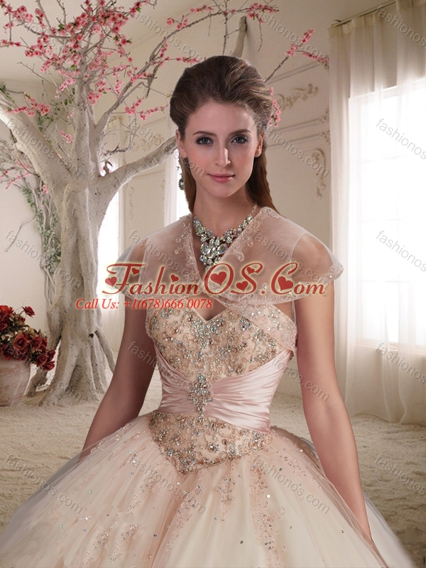 Perfect Big Puffy Beaded and Applique Tulle Champagne Quinceanera Gown