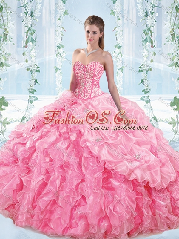 Perfect Visible Boning Ruffled Detachable Quinceanera Dresses in Rose Pink