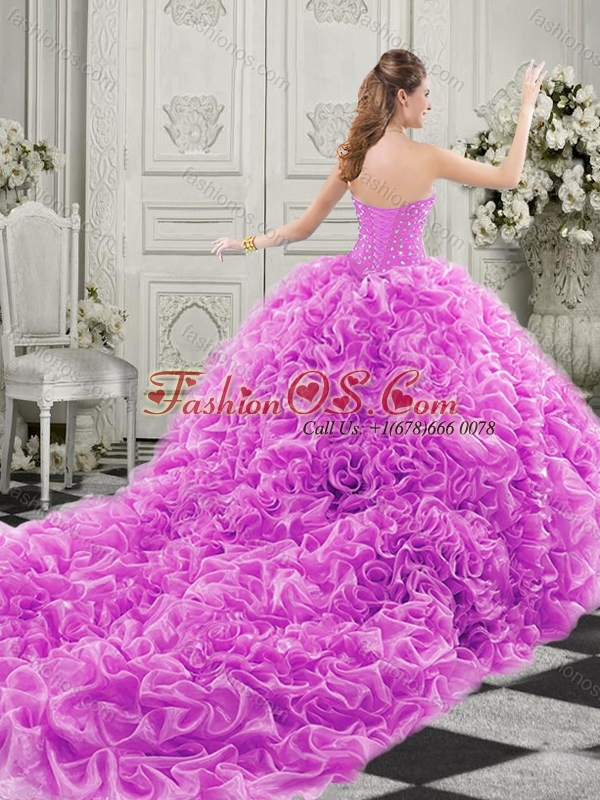 Popular Beaded Bodice and Ruffled Champagne Chapel Train Perfect Quinceanera Dress