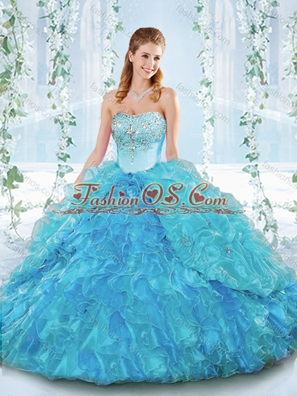 Popular Big Puffy Organza Detachable Sweet 16 Quinceanera Dress with Beading and Ruffles