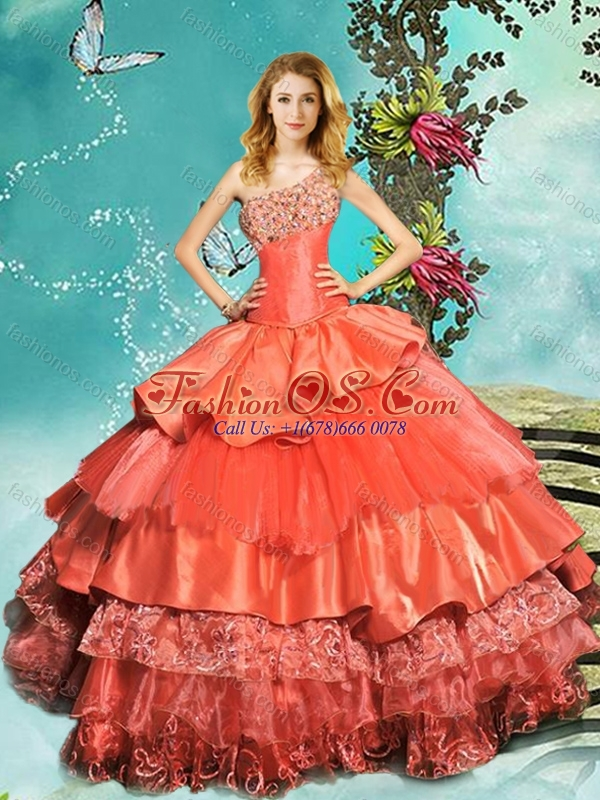 Pretty Beaded One Shoulder Rust Red Quinceanera Dress with Brush Train