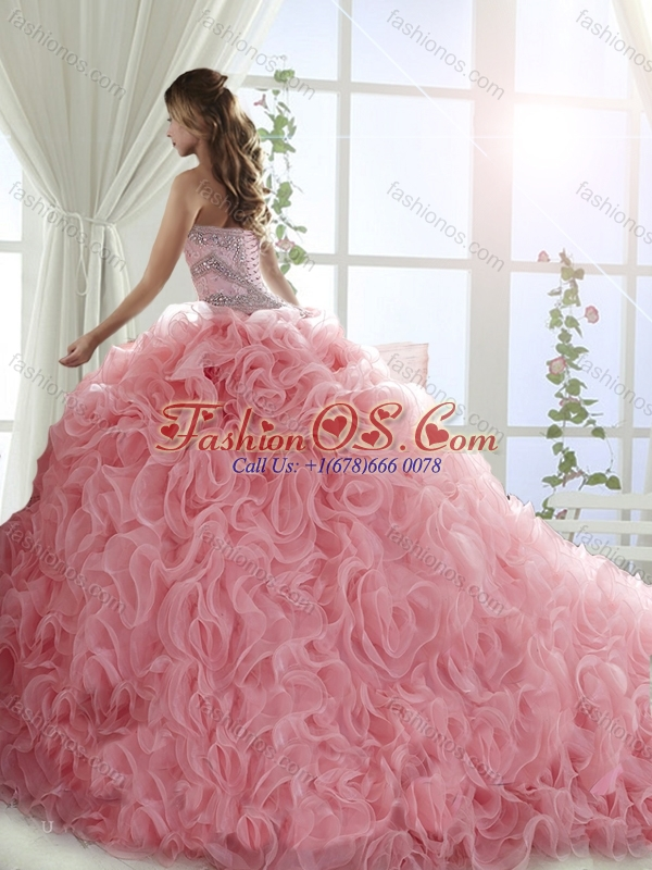 Pretty Rolling Flowers Turquoise Detachable Quinceanera Skirts with Brush Train