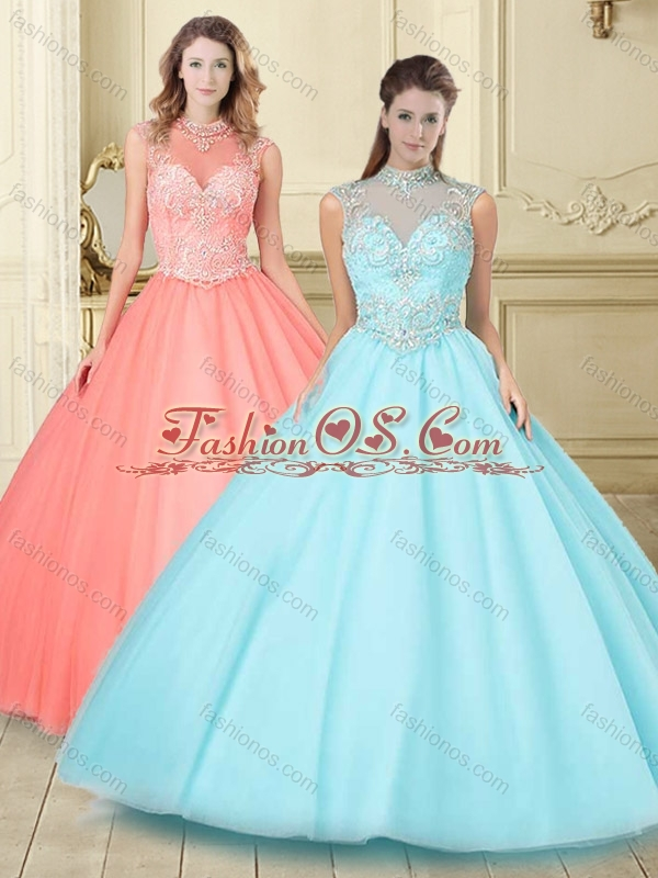 Pretty See Through High Neck Zipper Up Quinceanera Gown in Aque Blue