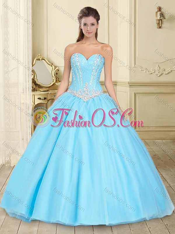 Pretty Visible Boning Aqua Blue Sweet 16 Dress with Beaded Bodice