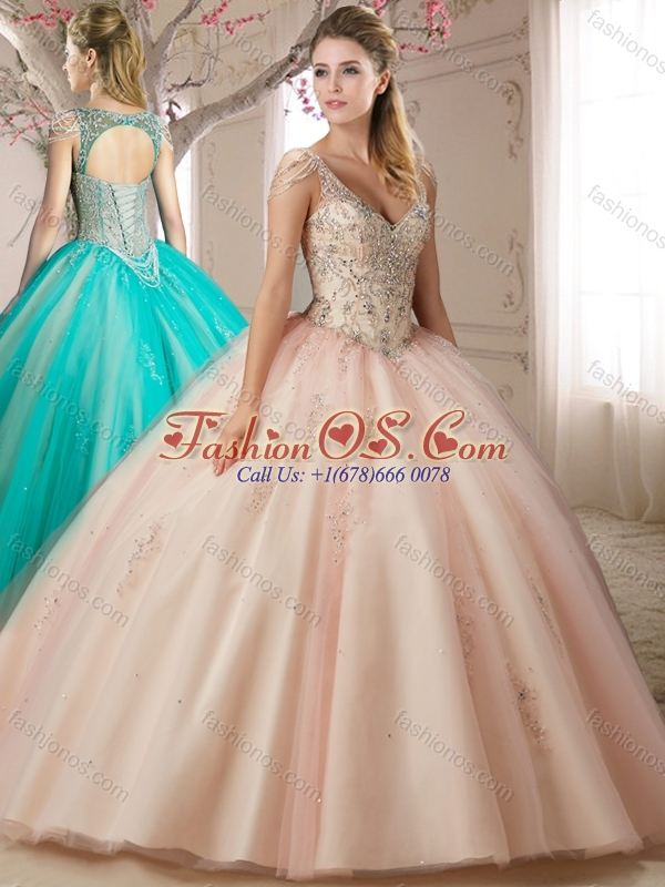 Puffy Skirts Beaded Decorated Cap Sleeves Champagne Quinceanera Dress with Beading