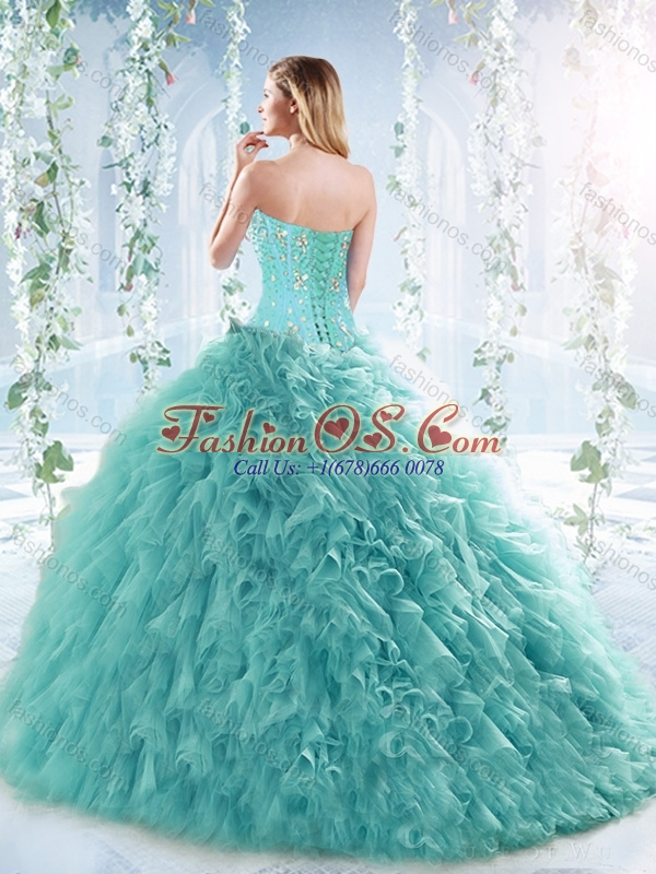 Simple Brush Train Beaded Detachable Quinceanera Skirts in Aquamarine