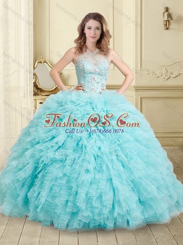 Simple See Through Beaded and Ruffled Quinceanera Dresses in Aqua Blue