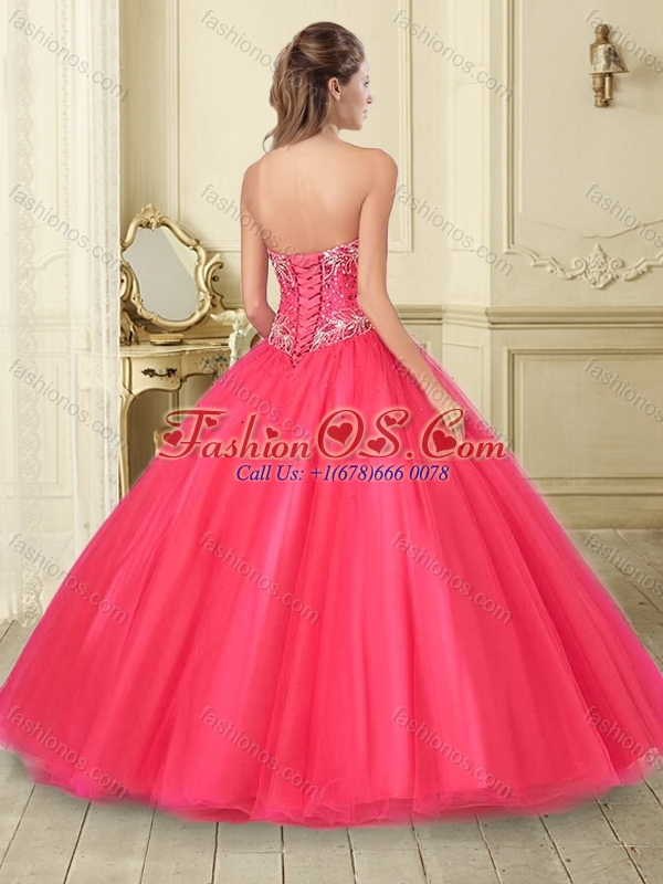 Unique Big Puffy Beaded Tulle Quinceanera Dress in Coral Red
