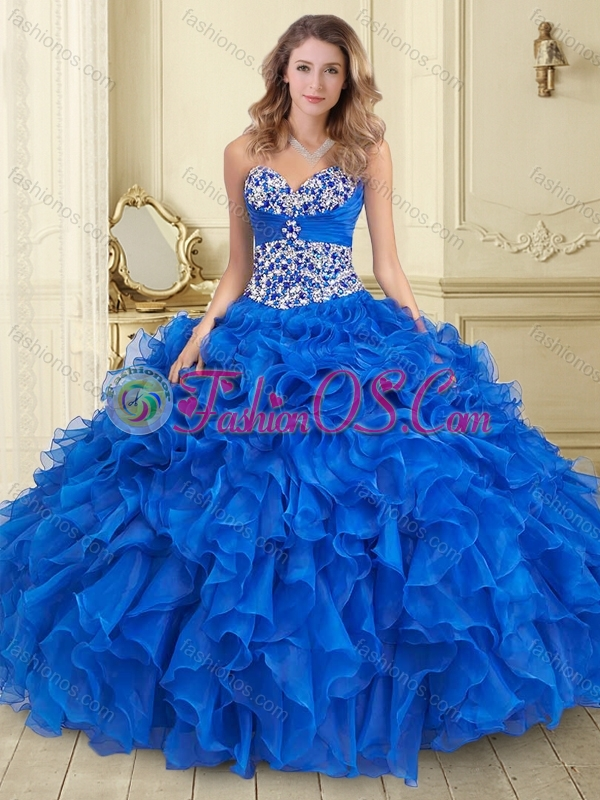 Unique Big Puffy Blue Quinceanera Dress with Beading and Ruffles