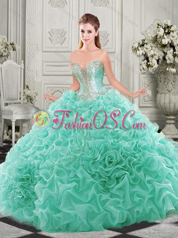Unique Chapel Train Beaded and Ruffled Quinceanera Dress with Detachable Straps