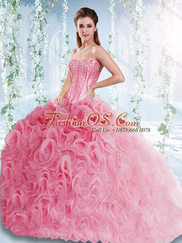 Visible Boning Rolling Flowers Detachable Quinceanera Gowns with Beaded Bodice