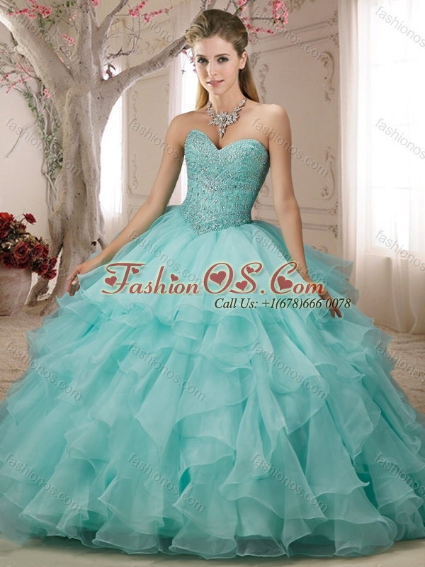 Cheap Really Puffy Beaded and Ruffled Baby Pink Perfect Quinceanera Dress
