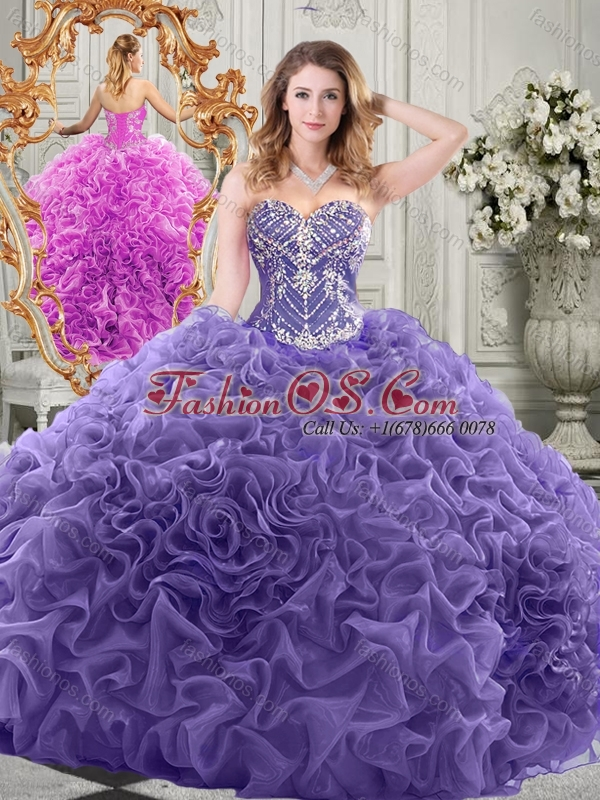 Elegant Chapel Train Lavender Quinceanera Gown with Beading and Ruffles