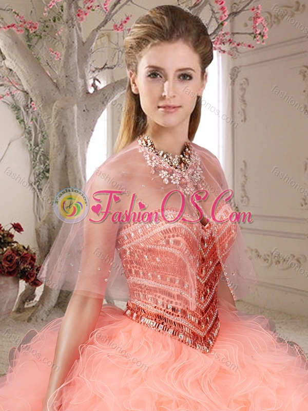 Gorgeous Beaded and Ruffled Sweetheart Coral Red Quinceanera Dress in Organza