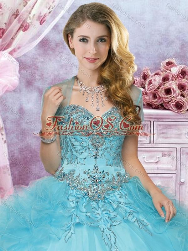 Hot Sale Beaded and Ruffled Organza Perfect Quinceanera Dress in Aqua Blue