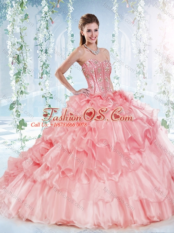 Latest Visible Boning Beaded Bodice Detachable Quinceanera Dress in Organza