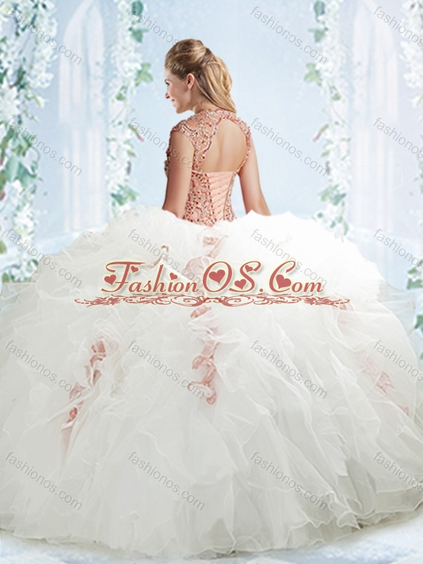 Lovely Beaded and Ruffled White Detachable Quinceanera Dresses in Organza