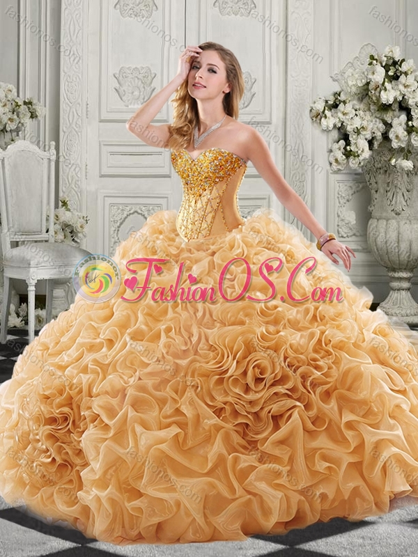 New Arrivals Organza Ruffled Champagne Sweet 16 Quinceanera Dress with Colorful Beading