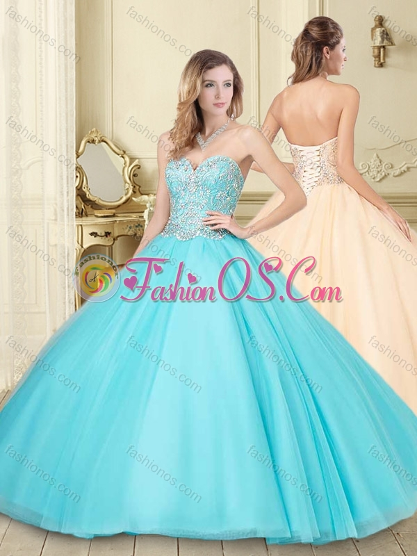 Romantic Beaded Tulle Lace Up Sweet 16 Quinceanera Dress in Aqua Blue