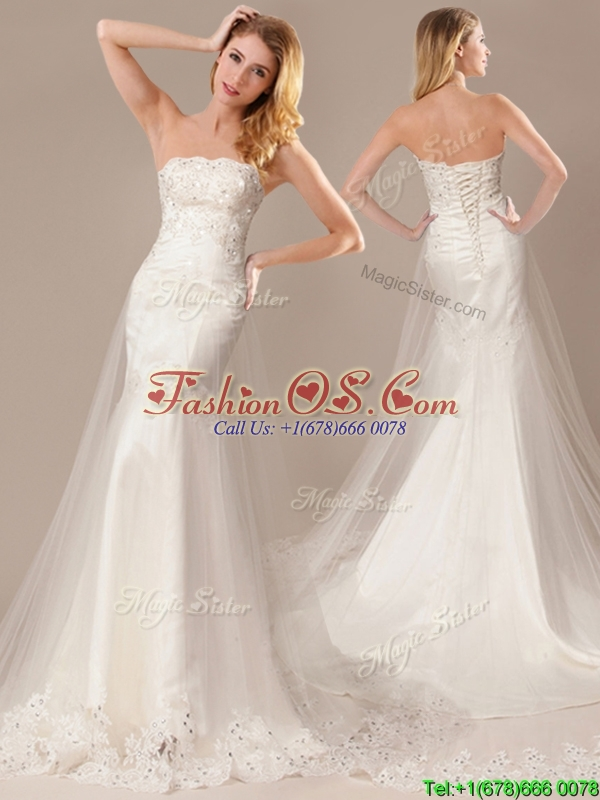 2016 Sexy Mermaid Strapless Wedding Dresses with Beading and Appliques