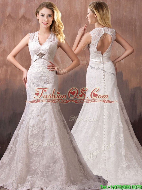 Classical Mermind V Neck Lace and Sashes Wedding Dresses with Shade Back