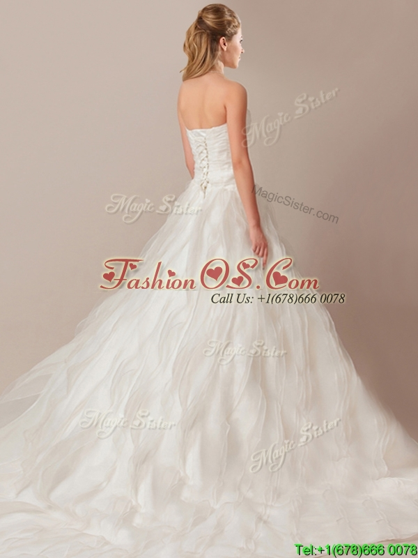 Elegant A Line Brush Train Wedding Dresses with Beading and Ruffles