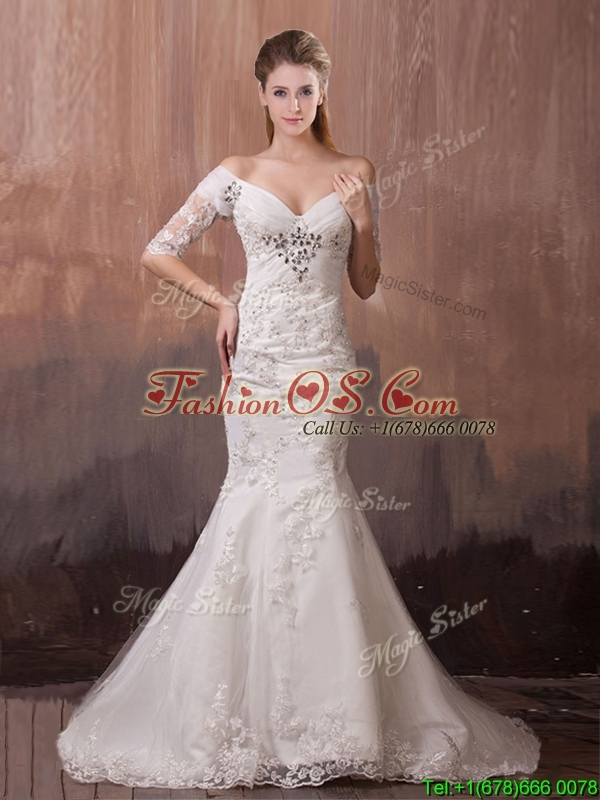 Beautiful Mermaid Wedding Dresses With Sleeves : Beautiful v neck half sleeves mermaid wedding dress with