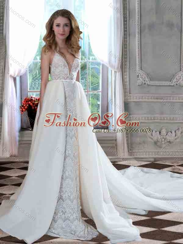 Column Straps Open Back Lace Church Wedding Dress with Chapel Train