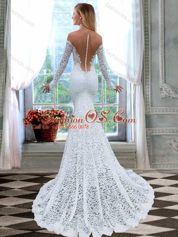 Fashionable Column Brush Train Long Sleeves Lace Wedding Dress with Off the Shoulder