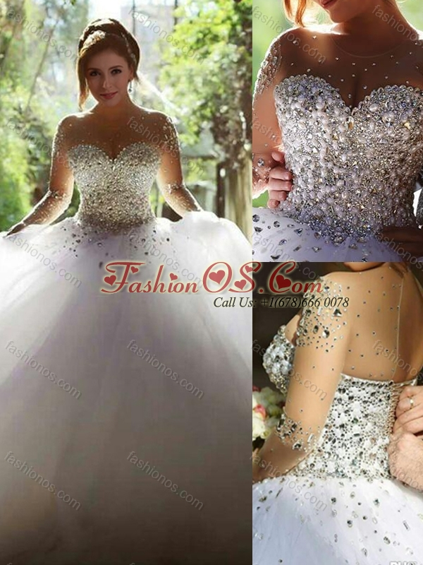 Luxurious See Through Beaded Bodice Wedding Dress with Long Sleeves