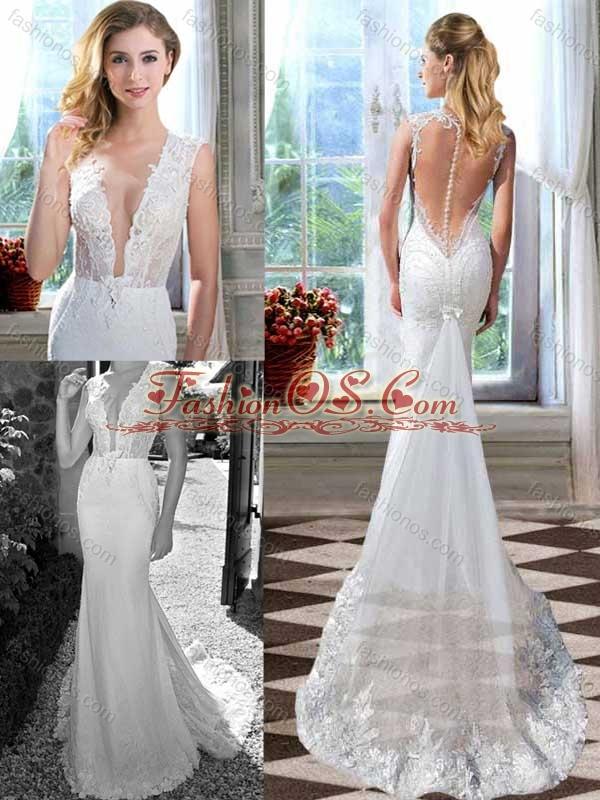 Mermaid Brush Train Clasp Handle Garden Wedding Dress with Deep V Neck