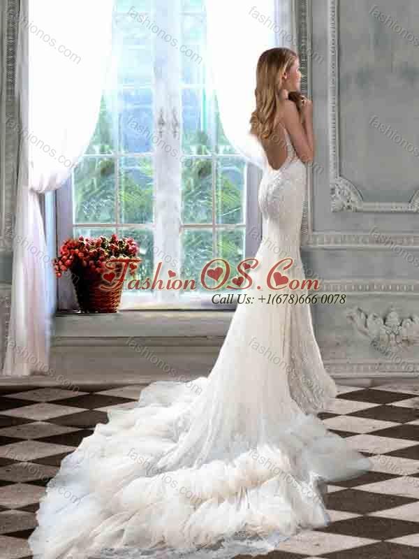 Most Popular Mermaid Straps Court Train Open Back Wedding Dress for Garden