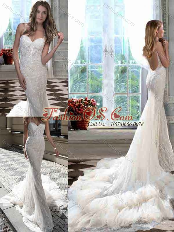Most Popular Mermaid Straps Court Train Open Back Wedding Dress for Garden