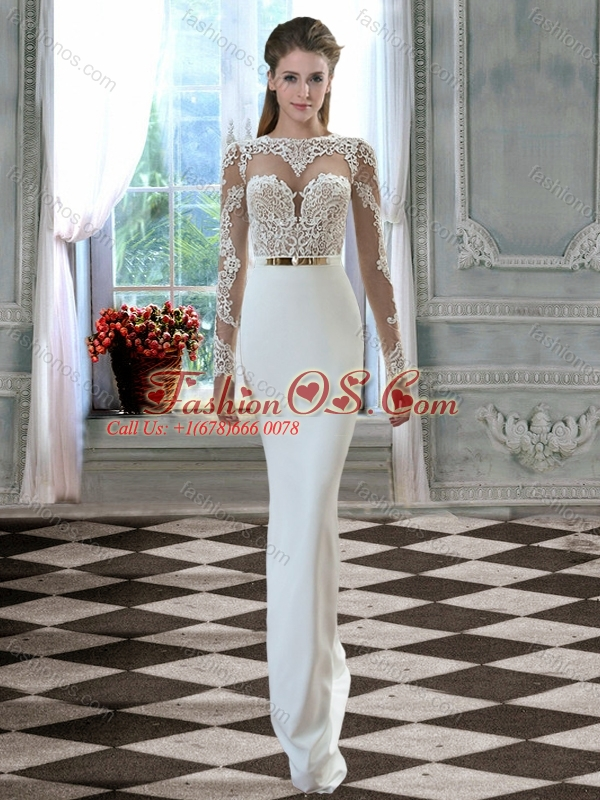 See Through Column Bateau Lace Open Back Wedding Dress with Long Sleeves