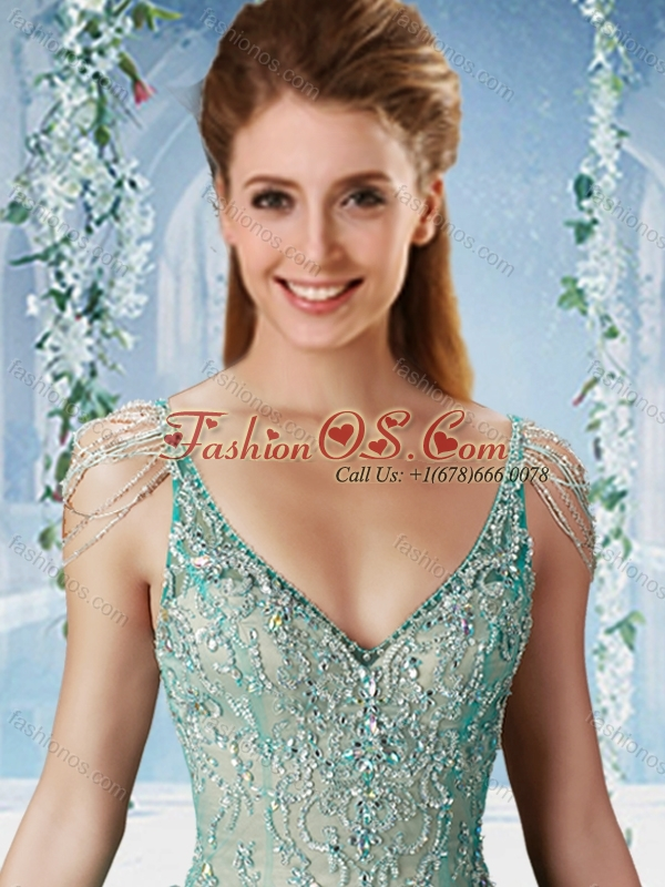 Beaded and Ruffled Aqua Blue 15 Quinceanera Dress with Beaded Decorated Cap Sleeves