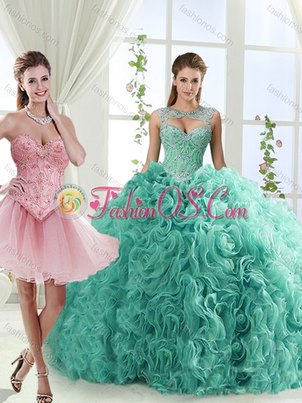 Fashionable Brush Train Detachable Quinceanera Skirt with Beading and Rolling Flower