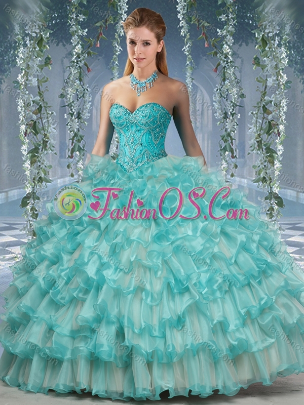 Lovely Big Puffy 15 Quinceanera Dress with Beading and Ruffles