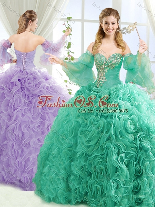 Exquisite Beaded Big Puffy Popular Quinceanera Dresses with Brush Train