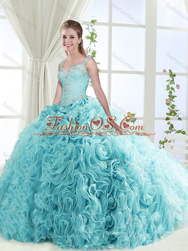 Gorgeous Beaded Straps Perfect Quinceanera Dresses with See Through Back