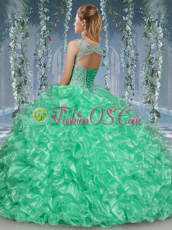 New Arrival Beaded and Ruffled Big Puffy Quinceanera Dress in Aqua Blue