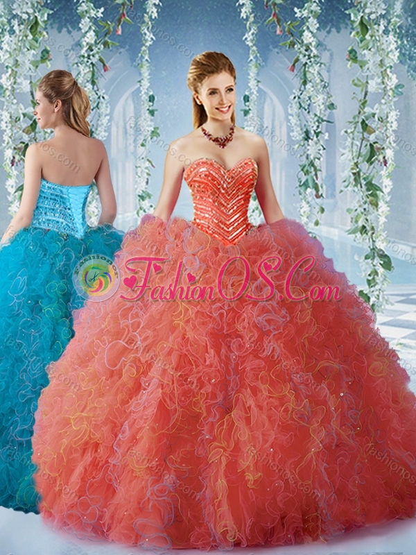 New Arrival Beaded and Ruffled Quinceanera Dress with Big Puffy